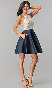 Image of sequin-bodice short homecoming dress with pockets.  Style: JO-JVN-JVN57782 Detail Image 1