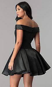 Image of JVN by Jovani off-the-shoulder short prom dress. Style: JO-JVN-JVN57854 Back Image