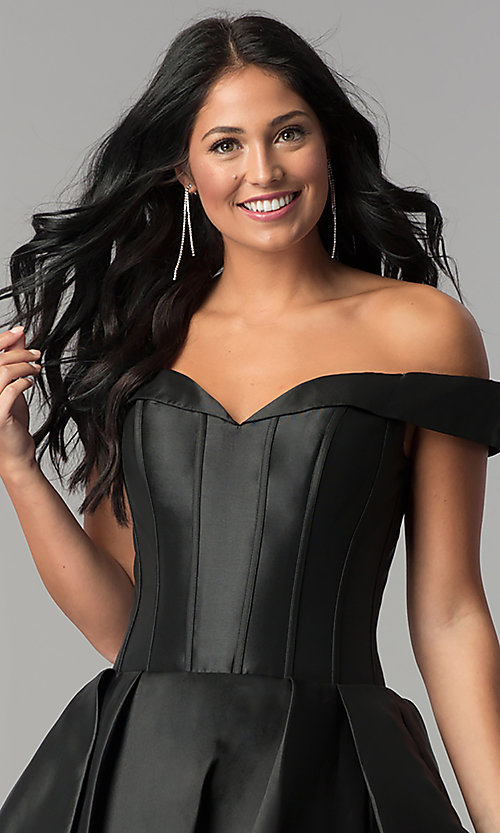 Image of JVN by Jovani off-the-shoulder short prom dress. Style: JO-JVN-JVN57854 Detail Image 1