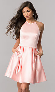 Image of short satin halter homecoming dress by Sherri Hill. Style: SH-51273 Detail Image 2