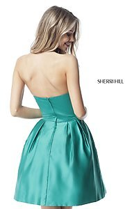 Image of short satin halter homecoming dress by Sherri Hill. Style: SH-51273 Back Image
