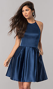 Image of short satin halter homecoming dress by Sherri Hill. Style: SH-51273 Detail Image 1