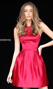 Image of short satin halter homecoming dress by Sherri Hill. Style: SH-51273 Front Image