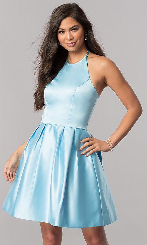 Image of short satin halter homecoming dress by Sherri Hill. Style: SH-51273 Detail Image 3