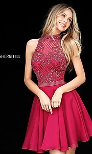 Image of Sherri Hill short homecoming dress with beading.  Style: SH-51276 Detail Image 2