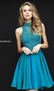 Image of Sherri Hill short homecoming dress with beading.  Style: SH-51276 Front Image