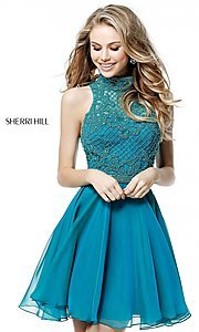 Image of Sherri Hill short homecoming dress with beading.  Style: SH-51276 Detail Image 1