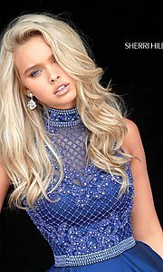 Image of Sherri Hill short homecoming dress with beading.  Style: SH-51276 Detail Image 3