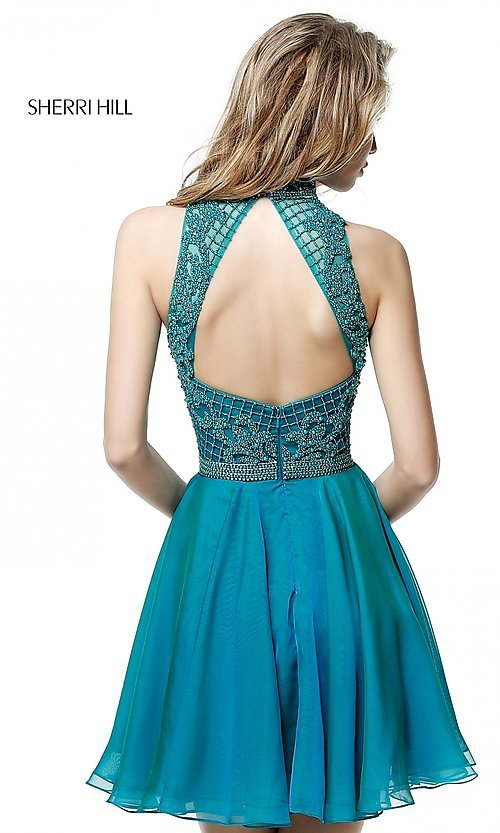 Image of Sherri Hill short homecoming dress with beading.  Style: SH-51276 Back Image