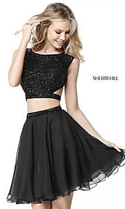 Image of Sherri Hill two-piece short homecoming party dress. Style: SH-51295 Front Image