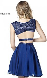 Image of Sherri Hill two-piece short homecoming party dress. Style: SH-51295 Back Image