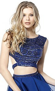 Image of Sherri Hill two-piece short homecoming party dress. Style: SH-51295 Detail Image 2