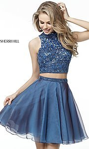 Image of short two-piece homecoming dress by Sherri Hill. Style: SH-51296 Detail Image 3