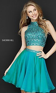 Image of short two-piece homecoming dress by Sherri Hill. Style: SH-51296 Detail Image 1