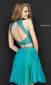 Image of short two-piece homecoming dress by Sherri Hill. Style: SH-51296 Back Image