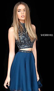 Image of short two-piece homecoming dress by Sherri Hill. Style: SH-51296 Detail Image 2