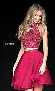 Image of short two-piece homecoming dress by Sherri Hill. Style: SH-51296 Front Image