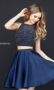 Image of two-piece Sherri Hill short a-line homecoming dress.  Style: SH-51299 Detail Image 2