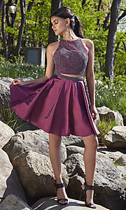 Image of two-piece short a-line homecoming dress.  Style: SH-51299 Front Image