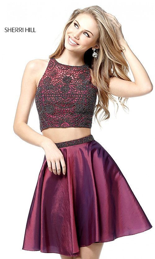 Image of two-piece Sherri Hill short a-line homecoming dress.  Style: SH-51299 Front Image