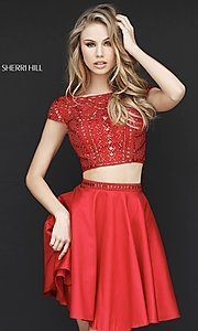 Image of Sherri Hill short red two-piece homecoming dress. Style: SH-51300 Front Image