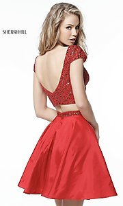 Image of Sherri Hill short red two-piece homecoming dress. Style: SH-51300 Back Image