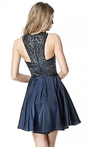 Image of Sherri Hill homecoming dress with beaded bodice. Style: SH-51302 Back Image