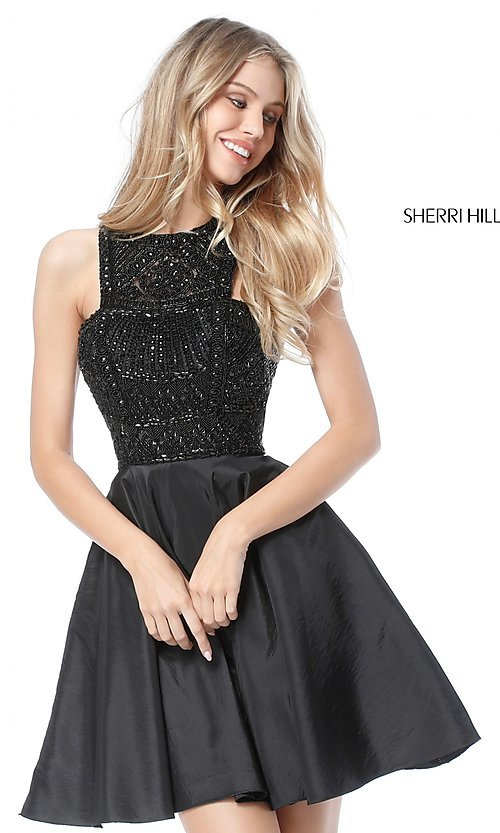 Image of Sherri Hill homecoming dress with beaded bodice. Style: SH-51302 Detail Image 2