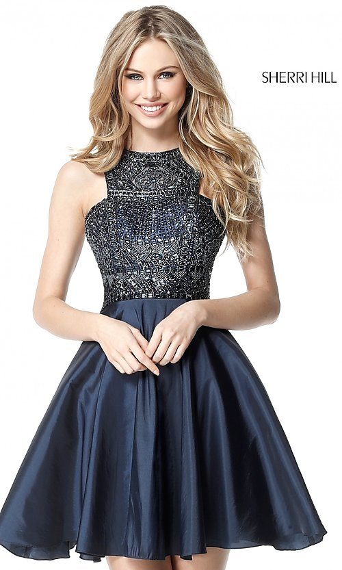 Image of Sherri Hill homecoming dress with beaded bodice. Style: SH-51302 Front Image