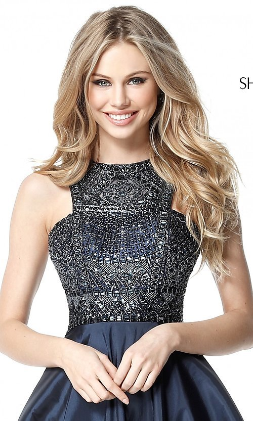 Image of Sherri Hill homecoming dress with beaded bodice. Style: SH-51302 Detail Image 1