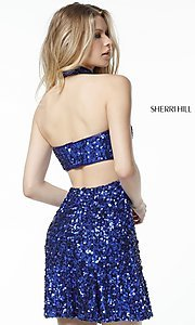 Image of Sherri Hill short sequin holiday party dress. Style: SH-51346 Back Image