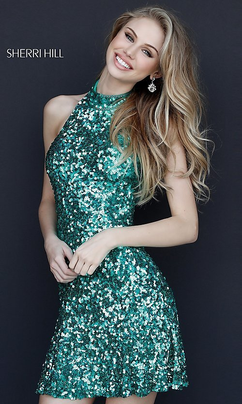 edf5d9d26bb66 Image of Sherri Hill short sequin holiday party dress. Style  SH-51346  Detail