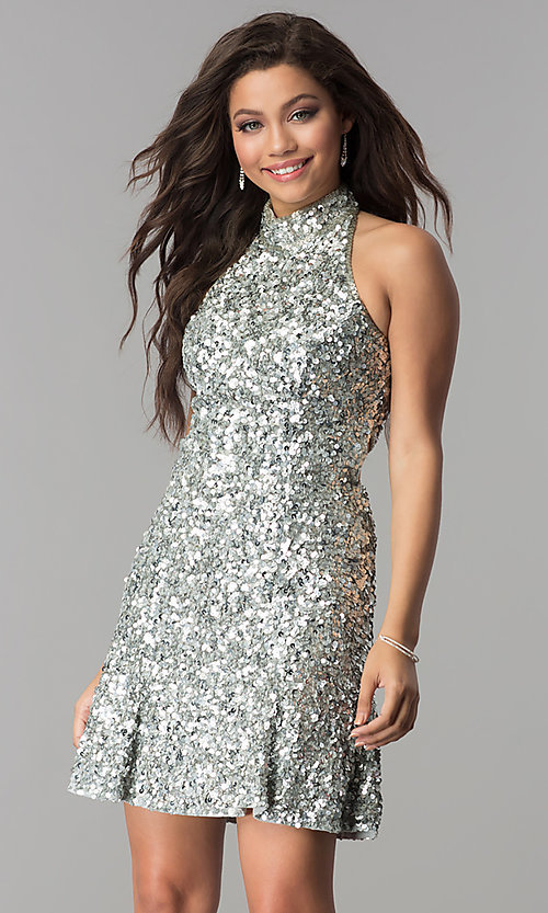 Image of Sherri Hill short sequin holiday party dress. Style: SH-51346 Detail Image 2