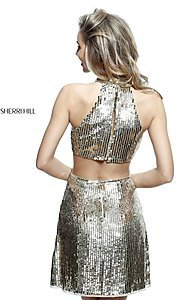 Image of high-neck short Sherri Hill sequin homecoming dress. Style: SH-51354 Back Image
