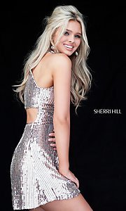 Image of high-neck short Sherri Hill sequin homecoming dress. Style: SH-51354 Front Image