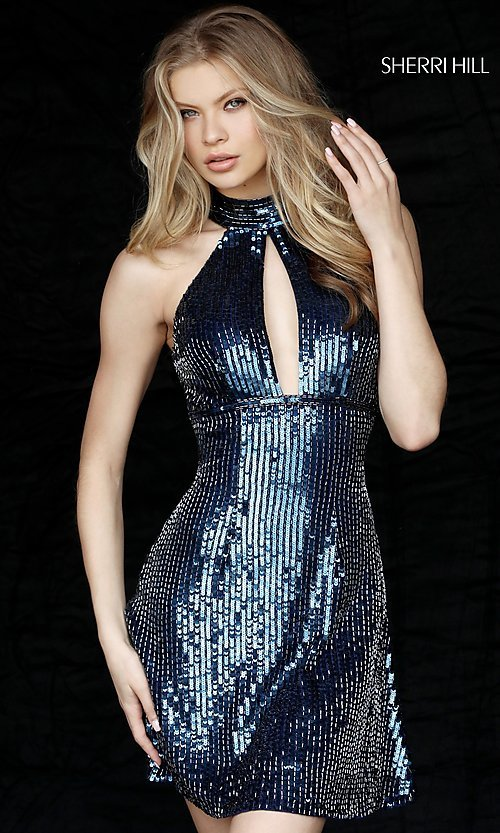 Image of high-neck short Sherri Hill sequin homecoming dress. Style: SH-51354 Detail Image 3