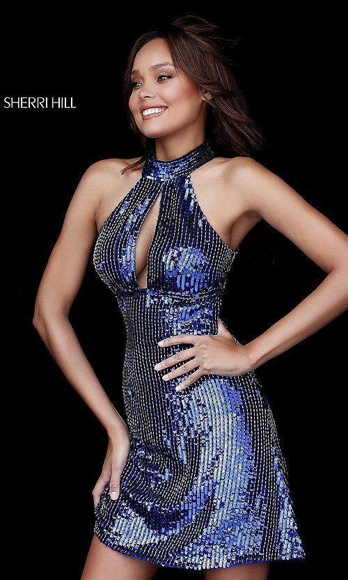Image of high-neck short Sherri Hill sequin homecoming dress. Style: SH-51354 Detail Image 4
