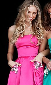 Image of short Sherri Hill strapless party dress. Style: SH-51390 Detail Image 3