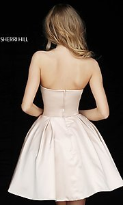 Image of short Sherri Hill strapless party dress. Style: SH-51390 Back Image