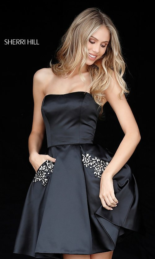 Image of short Sherri Hill strapless party dress. Style: SH-51390 Detail Image 2