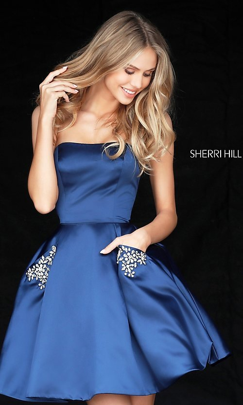 Image of short Sherri Hill strapless party dress. Style: SH-51390 Front Image
