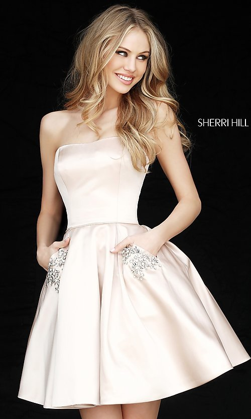 Image of short Sherri Hill strapless party dress. Style: SH-51390 Detail Image 1