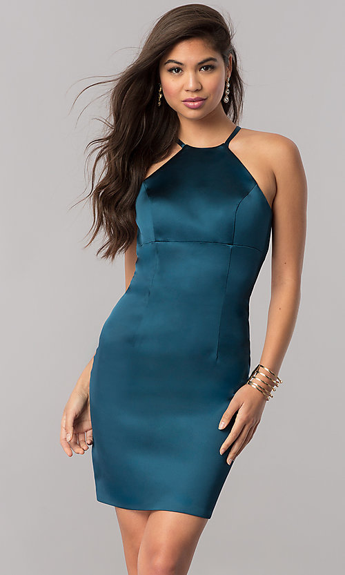 Image of empire-waist short homecoming dress. Style: SH-51421 Front Image