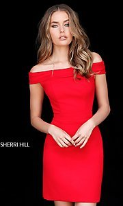 Image of short Sherri Hill off-the-shoulder homecoming dress. Style: SH-51423 Detail Image 1
