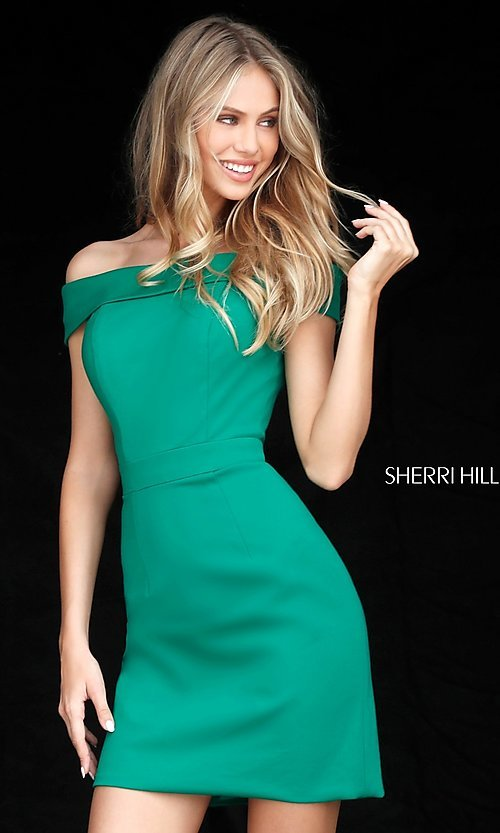 Image of short Sherri Hill off-the-shoulder homecoming dress. Style: SH-51423 Detail Image 2