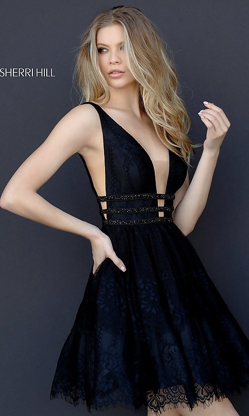 b4158f9bd5 Image of open-back black fit-and-flare homecoming dress. Style