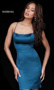 Image of empire-waist short homecoming dress by Sherri Hill. Style: SH-51500 Detail Image 1