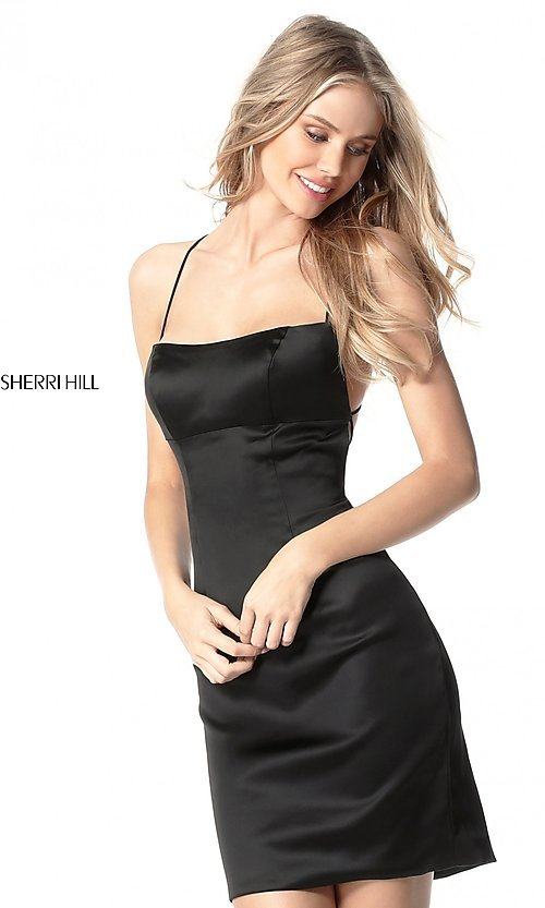 Image of empire-waist short homecoming dress by Sherri Hill. Style: SH-51500 Front Image