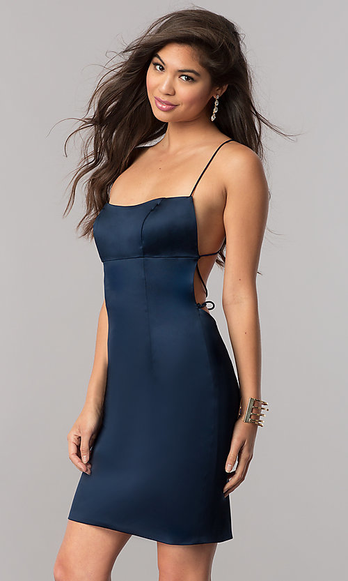 Image of empire-waist short homecoming dress by Sherri Hill. Style: SH-51500 Detail Image 2