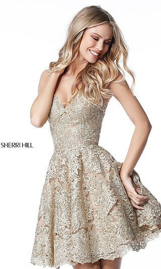 Gold Formal Gowns, Short Gold Cocktail Party Dresses